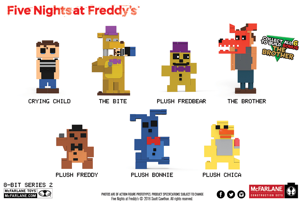 Five Nights at Freddys Plush Chica Series 2 8-Bit Buildable Figure McFarlane