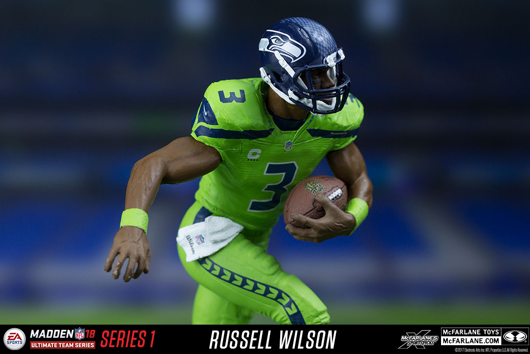 COLOR RUSH MCFARLANE NFL MADDEN 18 RUSSELL WILSON SEATTLE SEAHAWKS