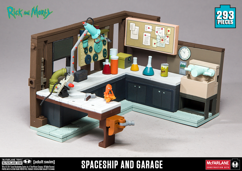 McFarlane Toys Rick and Morty Spaceship and Garage Large Construction Set Toy...